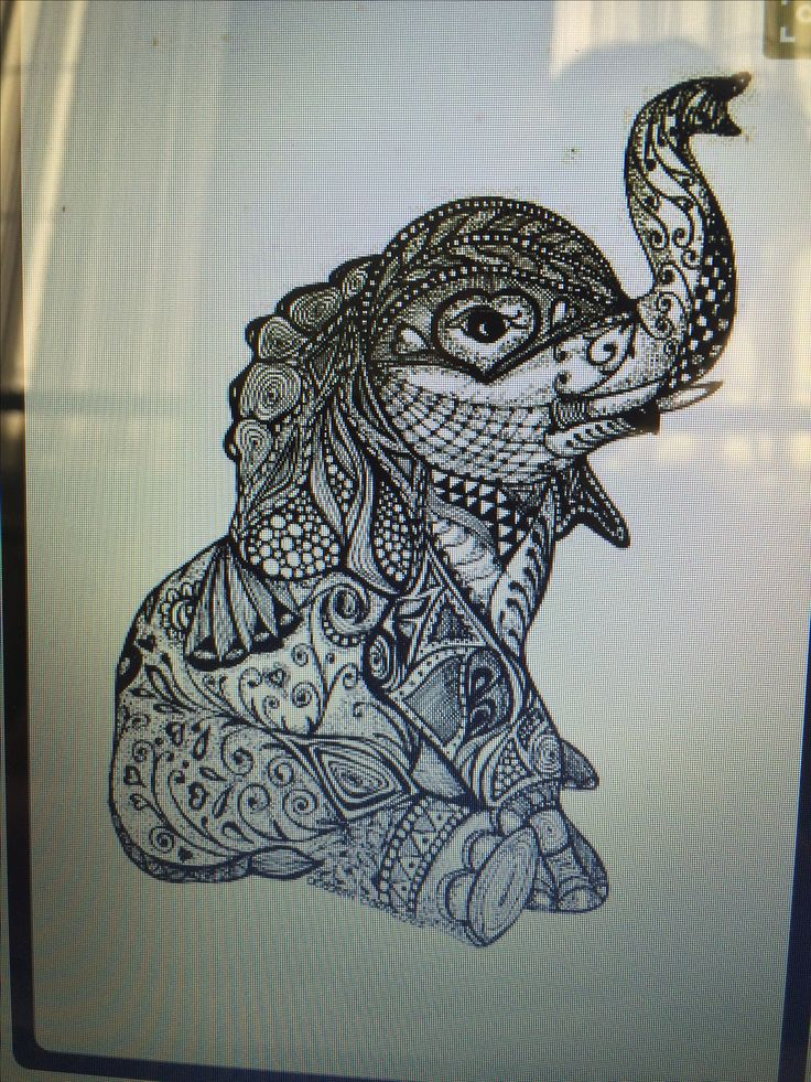 Cute mandala tattoo design of an elephant! Love it!