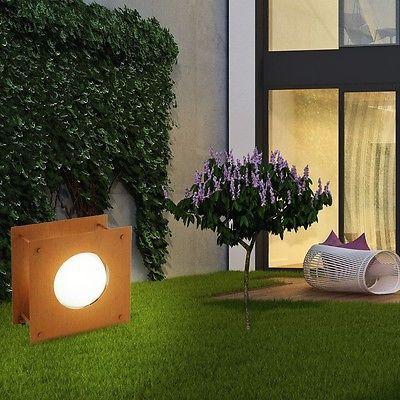Fabulous Steh Leuchte Au en Garten Beleuchtung Antik Braun Glas ge tzt Strahler E Lampe