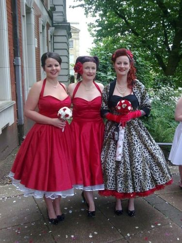 Catherine had a rockabilly theme for her wedding. She wore a leopard print dress and her husband had a teddy boy suit. They danced to songs from Back to the Future.