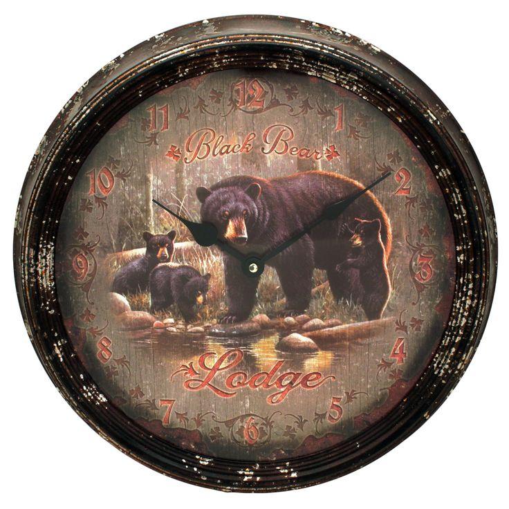 Rivers Edge Products Metal Clock 15-inch Black Bear Lodge