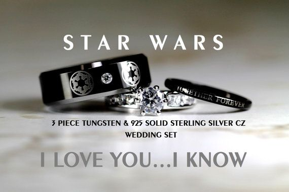Tungsteno de STAR WARS y anillo de bodas de 1,15 quilate CZ de plata esterlina 925 conjunto, 8mm Star Wars Imperio Galáctico Imperial, Alianza Rebelde Jedi