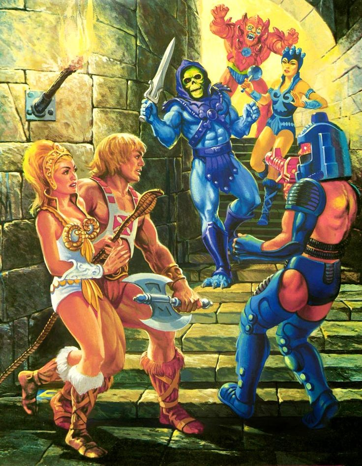 80s Masters of the Universe artwork feat. (a still then blonde) Teela, He-Man, Skeletor, Beast-Man, Evil-Lyn and Man-E-Faces