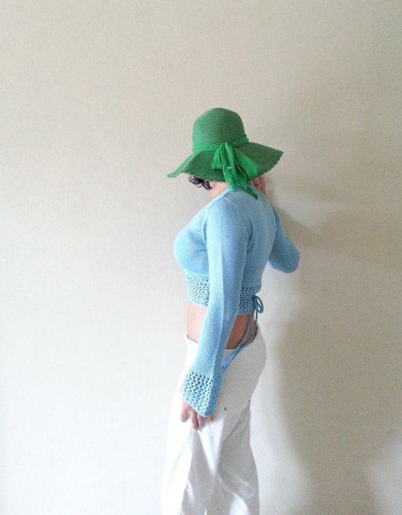 COPRI SPALLE TURCHESE, top manica lunga, crochet top bolero, regalo per lei, top maglia manica lunga, giacchino corto