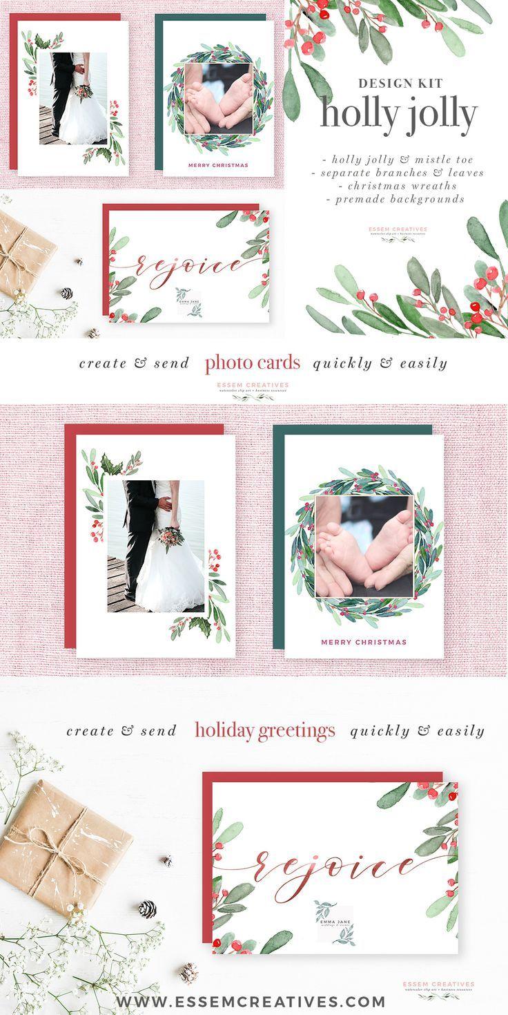Watercolor Christmas Wreath Clipart, Christmas Card Templates, 5x7 ...