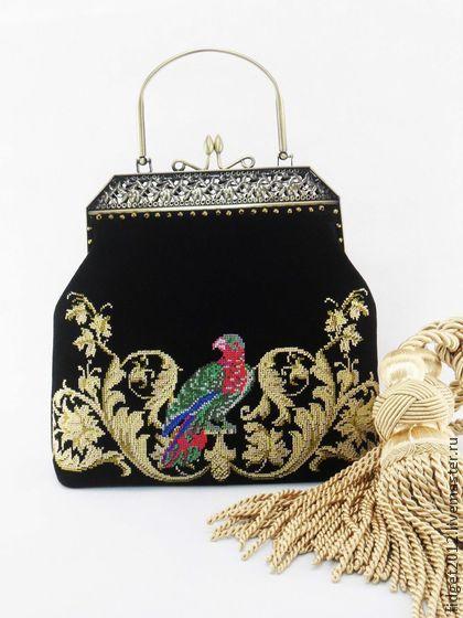 """Замшевая сумочка с вышивкой""""Золотой век"""" - тёмно-синий,вышитая сумочка"""