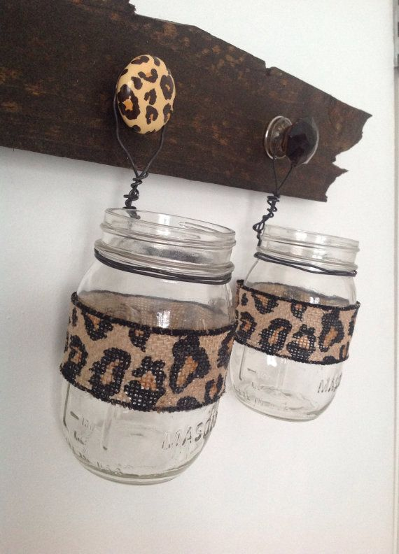 Leopard print 2 mason jar organizer and rustic by WoodenTouches, $40.00  www.woodentouches.etsy.com