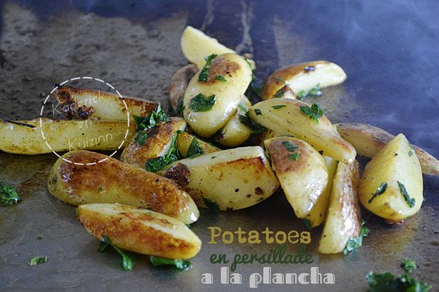 recette des potatoes en persillade cuitent la plancha sur cuisine. Black Bedroom Furniture Sets. Home Design Ideas