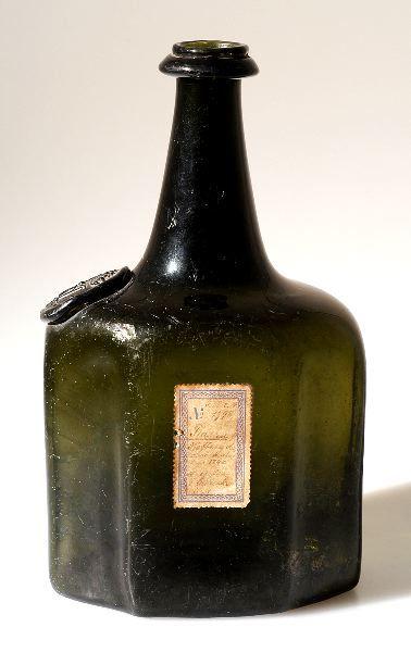 Vodka bottle, dated 1747. Made at Skånska Glasbruket, Perstorp, Skåne. Kulturen, Lund, Sweden. http://carl.kulturen.com/web/object/1848