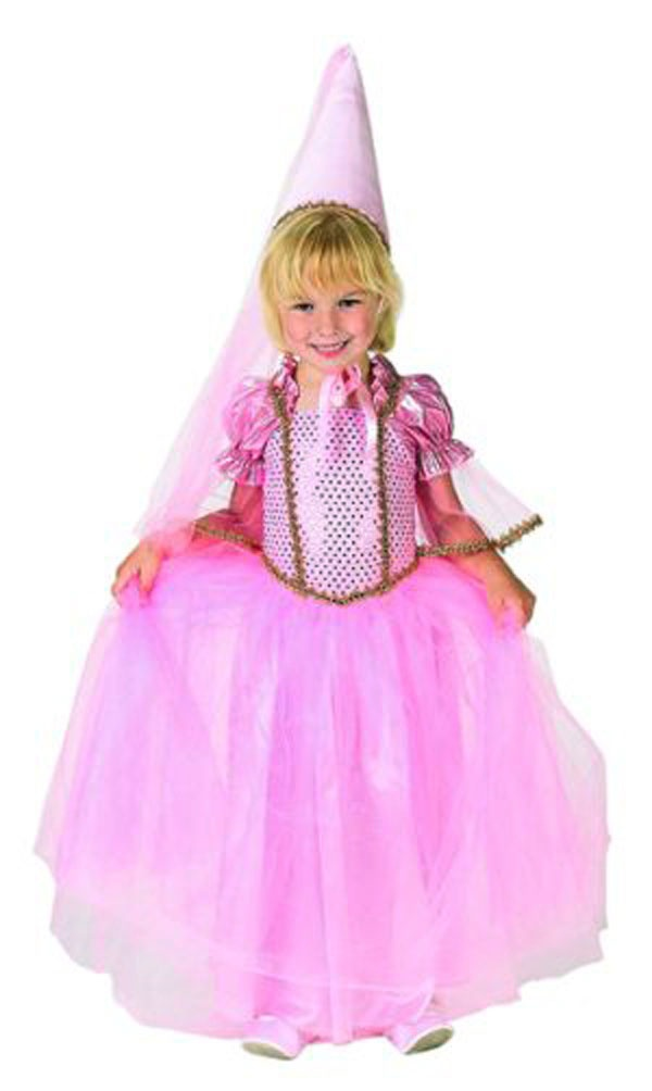 your little girl will love this beautiful pink princess halloween costume by aeromax the dress features a sparkly bodice with gold trim and a soft