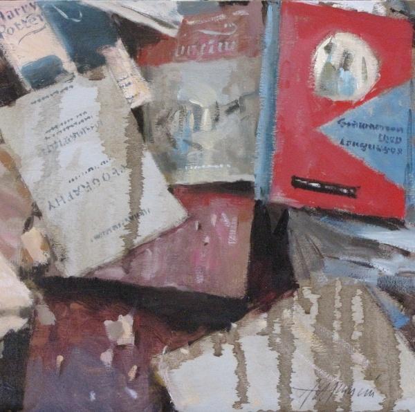 Libri/Books Olio su legno/oil on panel 25x25cm