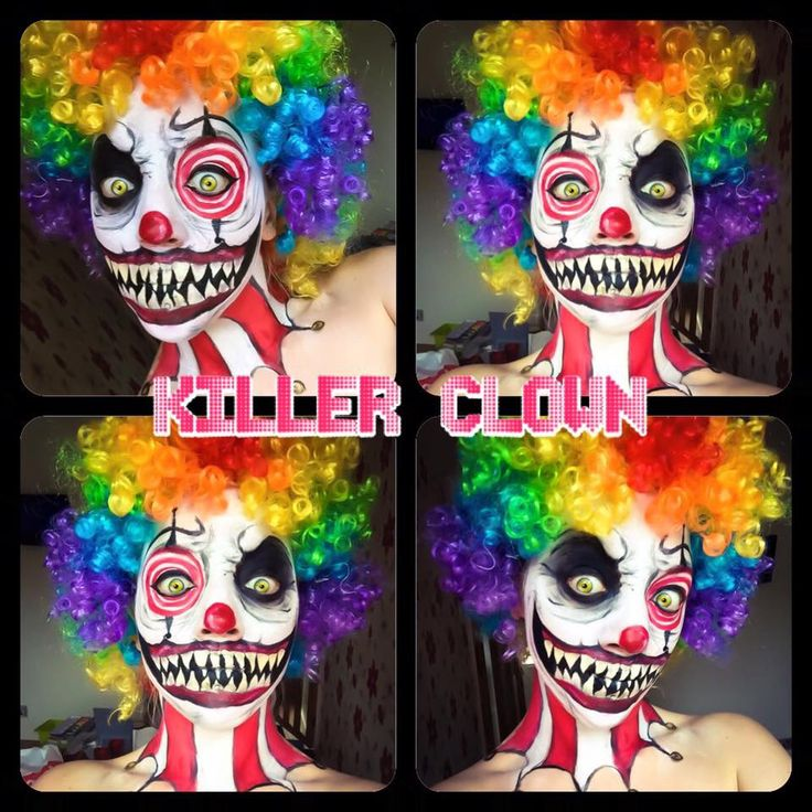 Killer Clown make up by Jodie Broadley #evil #clown #Halloween