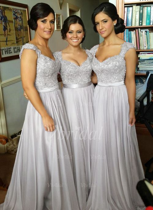 Bridesmaid Dresses 166 85 A Line Princess Sweetheart Floor Length Satin Chiffon Dress With Ruffle Beading