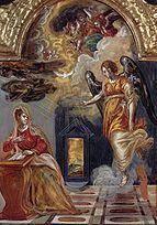 El Greco  En estas obras estilísticamente distintas, se aprecia como asumió el lenguaje del Renacimiento veneciano. La primera, del Tríptico de Módena (Galería Estense), es una obra titubeante del inicio de su estancia veneciana. La segunda (Thyssen-Bornemisza), (1573-1576), repite iconografía y composición, recuerda al Veronés en las figuras y a Tiziano en el nítido pavimento, en la composición equilibrada y en la serenidad de la escena. El manejo del color es ya de un maestro.24