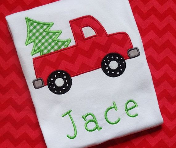 Personalized Children's Christmas Shirt by shopTHREADdesigns, $23.50  Christmas, Christmas Tree, Holiday, Monogram, Embroidery, Applique, Truck, Christmas Ideas, Gift, Halloween, Thanksgiving, Christmas for Boys