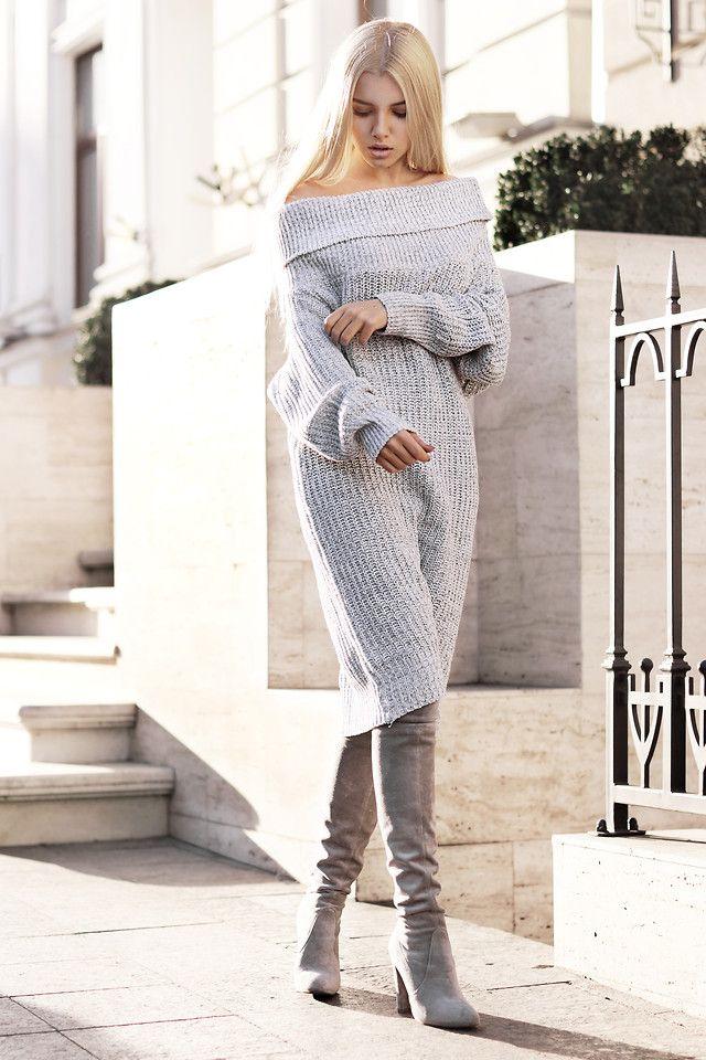 Kristina Dolinskaya - Wholesale7 Gray Knitted Dress Sweater - Cozy sweater dress   LOOKBOOK меланж серый платье ботфорты