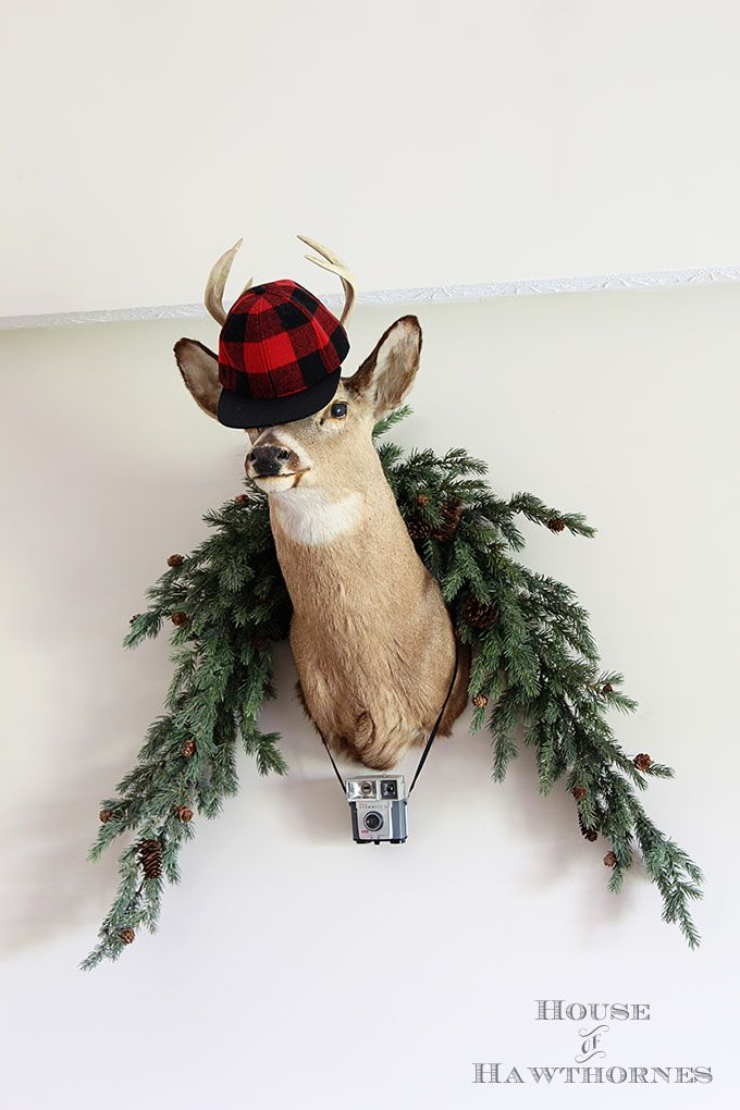 A rustic vintage eclectic style summer home decor tour including vintage thermoses, cameras, typewriter and vintage croquet and badminton equipment.  Oh, and this is a deer head.