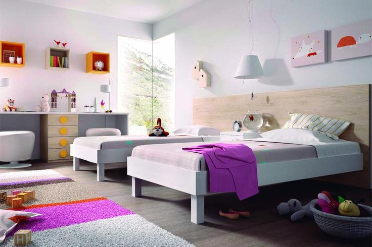 Composici n para dos camas individuales de colch n de - Habitacion infantil dos camas ...