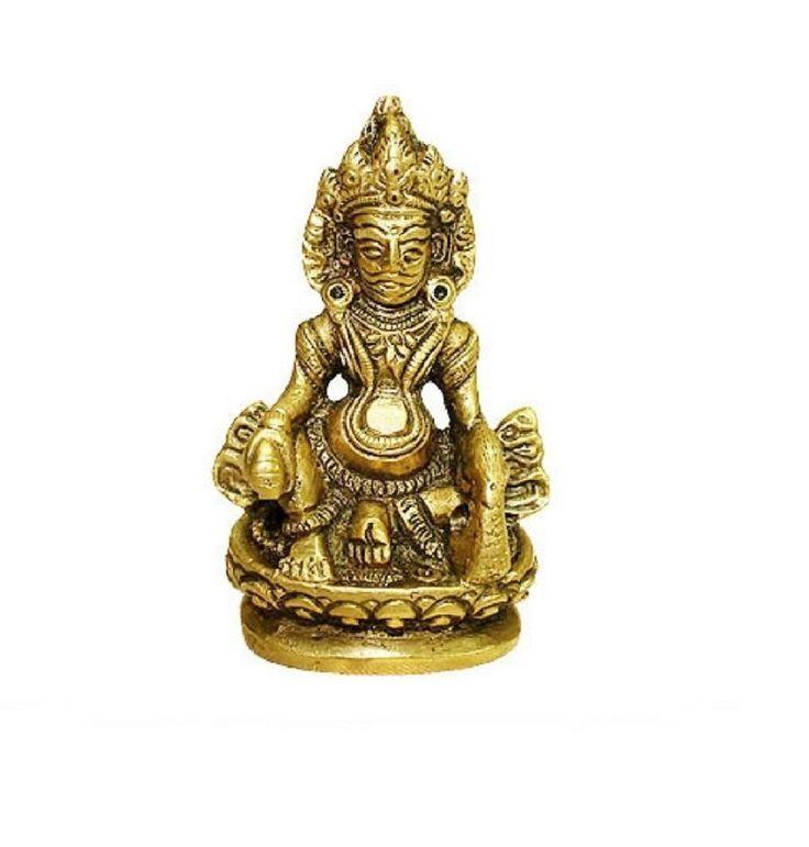 Kuber Idol In Brass Hindu Religious God Sculpture Festival