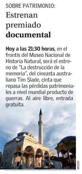 La exhibición del documental «The Destruction of Memory» es noticia en el diario El Mercurio