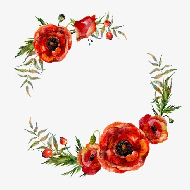 Flower Garlands Flower Clipart Red Watercolor Flowers
