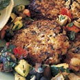 Wild Rice and Brown Rice Cakes with Roasted Vegetable Ragu