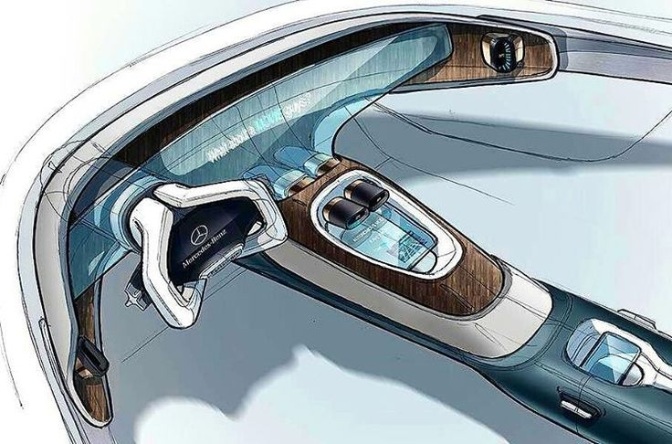 Mercedes interior sketch  By Brieuc Masson