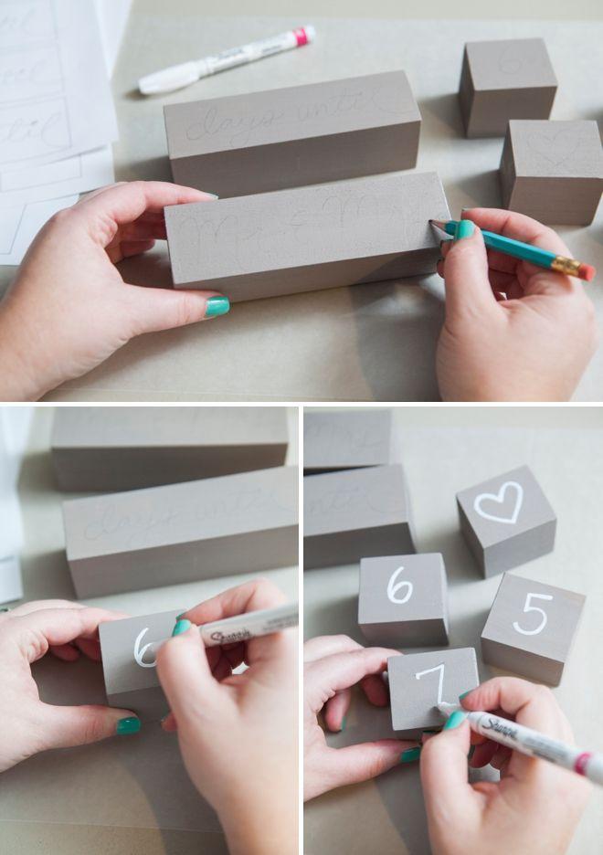 Make your own wedding countdown blocks
