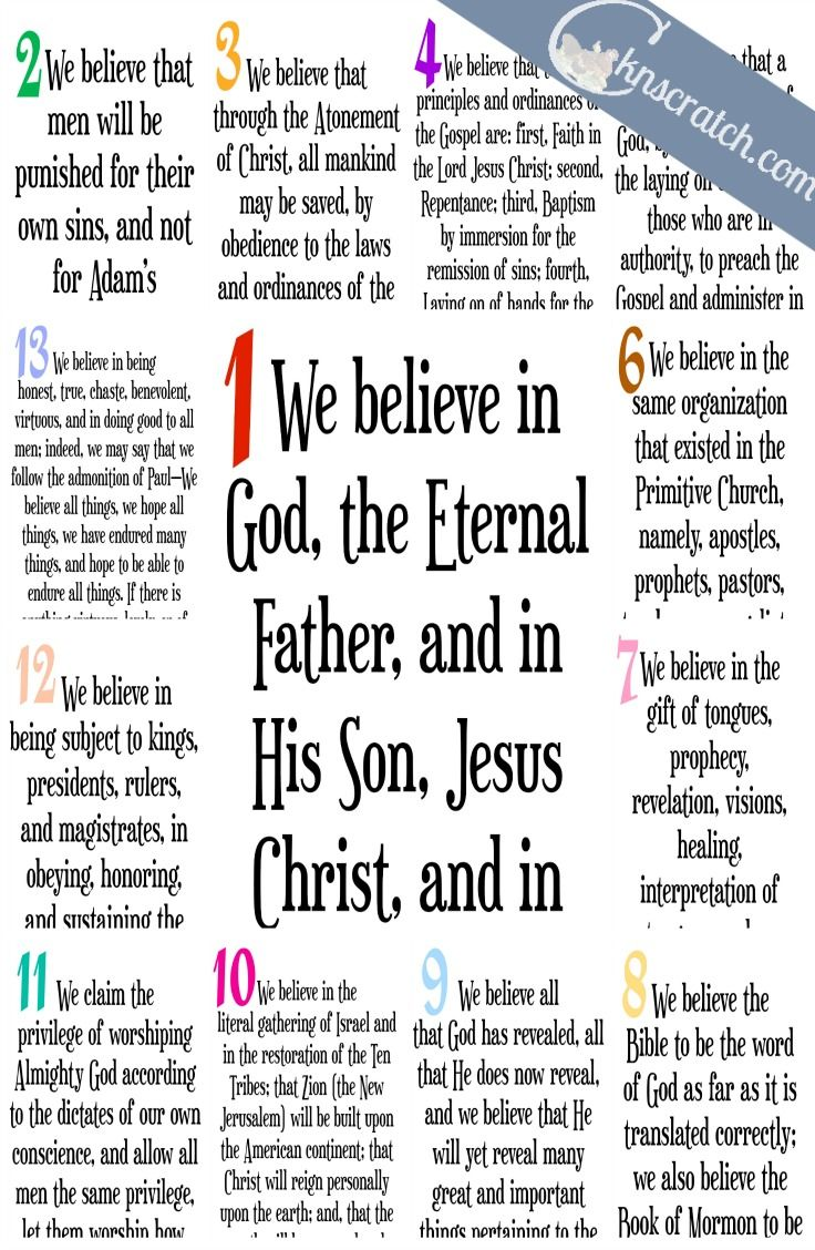 Free posters of all the Articles of Faith