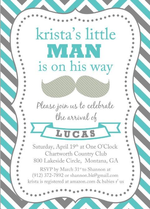 Baby boy shower invitation / mustache, little man, moustaches, printable file