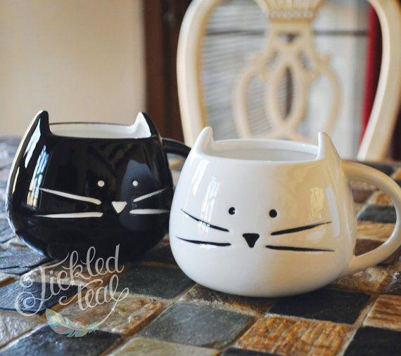 ORIGINAL - texto personalizado - lindo gato taza - blanco / negro - mano escrito taza - personalizar con su texto personalizado-12 oz - Adorable gato taza - Tic