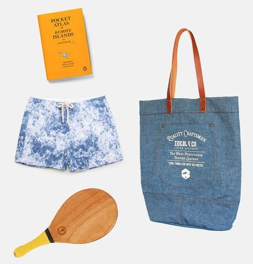 The perfect beach kit with Mendiga bag by Ideal & Co, the Atlas of Remote Islands by Penguin, Mineral Print Trunk by Saturdays NYC and Salvador Bats by Frescobol Carioca