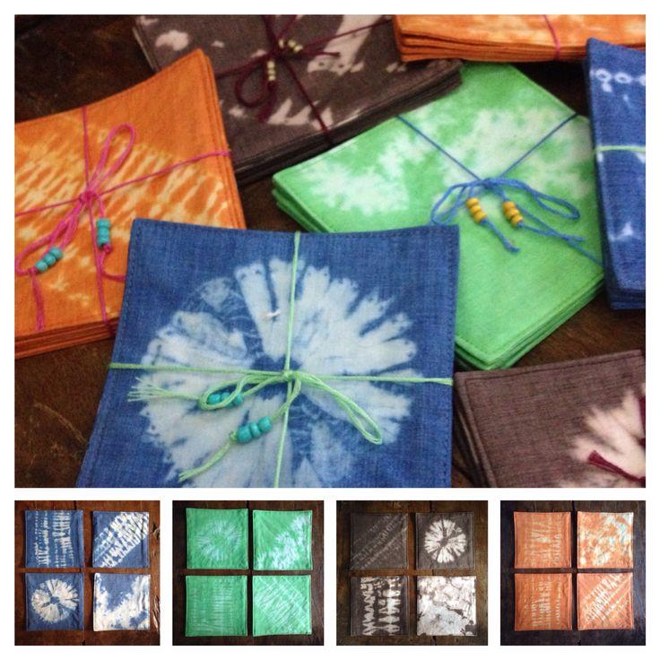 Shibori coasters for sale   Instagram: @oldhippie_online