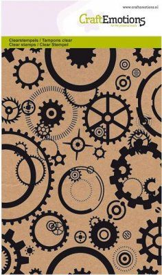 CraftEmotions A6 Clearstamp Set - Background Gears