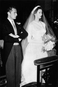 Princess Marella Caracciolo di Castagneto (in her first Balenciaga) at her 1953 wedding to Fiat heir Gianna Agnelli.