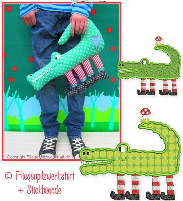 Kri-Kra-Krokodil Nähanleitung und Stickdatei  Ihr könnt mit Hilfe dieser Datei ein 45 cm großes Krokodil mit Gesicht nähen.  Es hat 4 coole Stiefelbeine und ein Herz auf dem Popo und wird Eure Kinder (und Euch selbst) begeistern. 7,90€