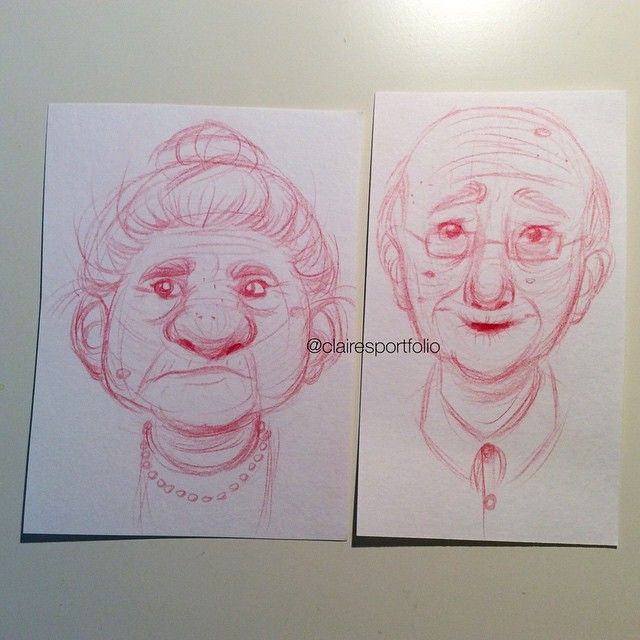 Old couple sketch by clairesportfolio on Instagram