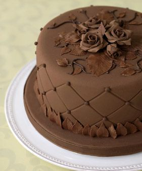 Brides.com: . Chocolate DreamCake designer Rebecca Swoffer loves crafts, especially woven wall hangings. Her decadent cocoa confection—ideal for a groom's cake—has a fabric-like quality, with vines and leaves made from chocolate wafers. Chocolate fondant cake with fondant dots and roses, $2.25 per slice, Rebecca Swoffer, Kimball, MI; 810-985-6542. Cake plate, Kiss That Frog, at Upstairs at Pierre Lafond; 805-565-1503.