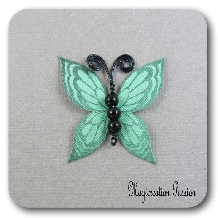 papillon 3.5 cm soie vert corps de perles noires et métal noir-Ysatis : Décoration d'intérieur par les-tiroirs-de-magicreation-passion