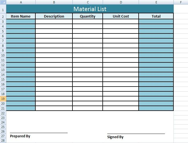 Get Material List Template In Excel