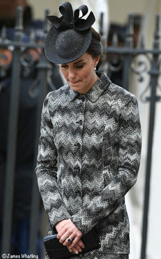 The Duchess brought back her Missoni coat for today's Service of Hope at Westminster Abbey.