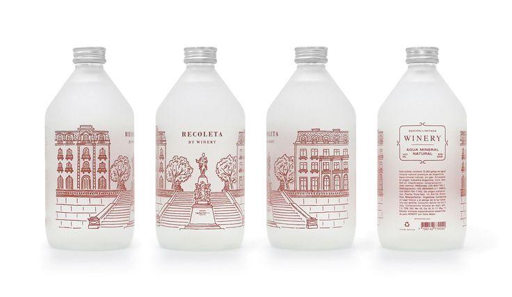 Diseño de una serie de botellas de agua de 500ml con ilustraciones de cinco barrios de Buenos Aires.Edición limitada.Para Winery Vinotecas.2015