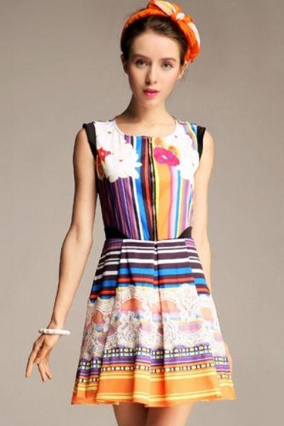 Tribal Print A-line Dress OASAP.com