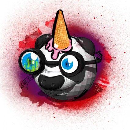 Sugar Cone Panda Unicorn Wood Print - Garabato -