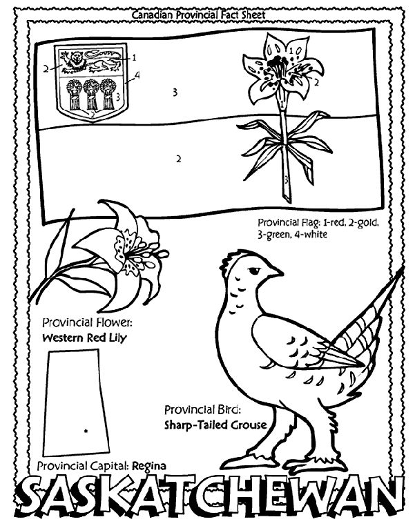 Canadian Province - Saskatchewan colouring page. Give to students when learning about their community. Part of me on the map?