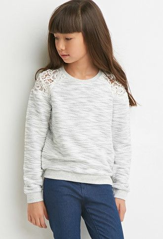 Crochet-Paneled Slub Knit Sweatshirt (Kids) | Forever 21 girls - 2000157082
