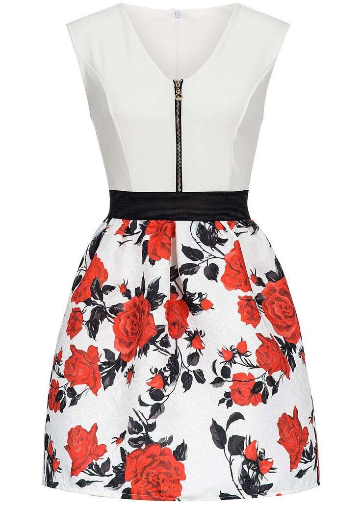 Styleboom Fashion Damen Mini Kleid Gummizug Blumen Muster Zipper…