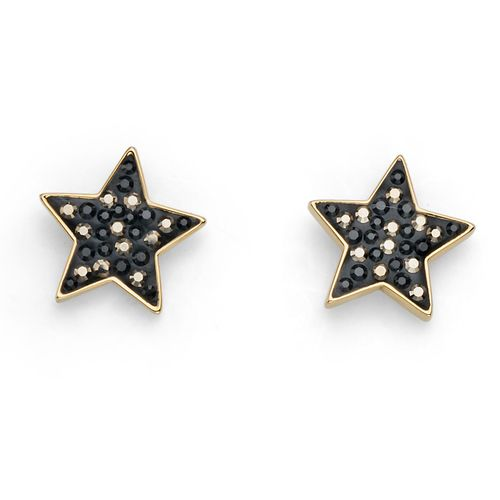 Black & Gold Lucky Star Swarovski Crystals Stud Pierced Earrings Oliver Weber