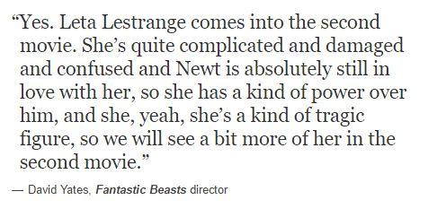 Leta Lestange - Fantastic Beasts 2 - David Yates