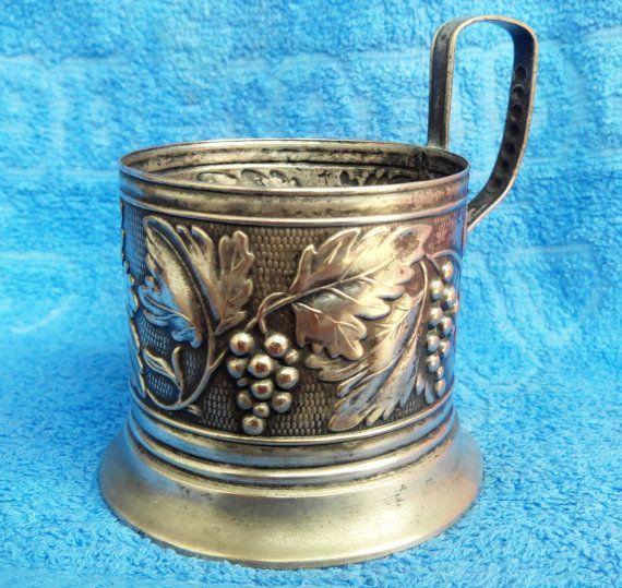 Soviet tea cup holder Grape pattern produced от ArtVintageAntique