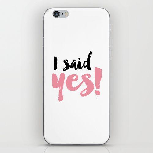 I said yes - engagement typography iPhone & iPod Skin engagement typography, engaged, pink and black, cute